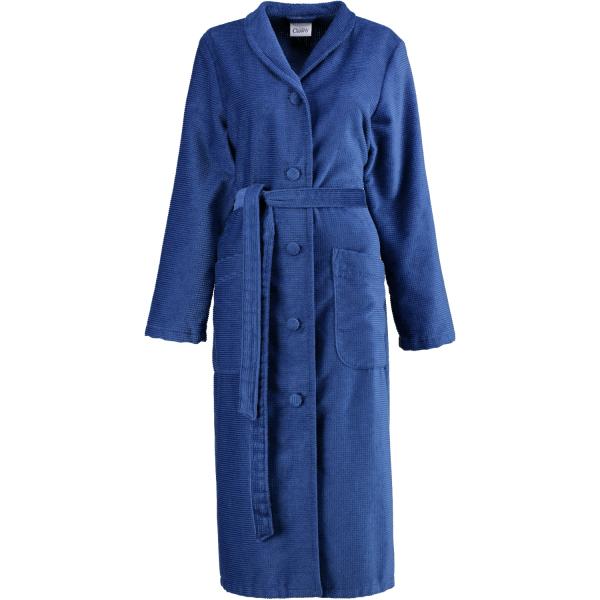 Cawö - Damen Bademantel Kelchkragen geknöpft 2307 - Farbe: blau - 115