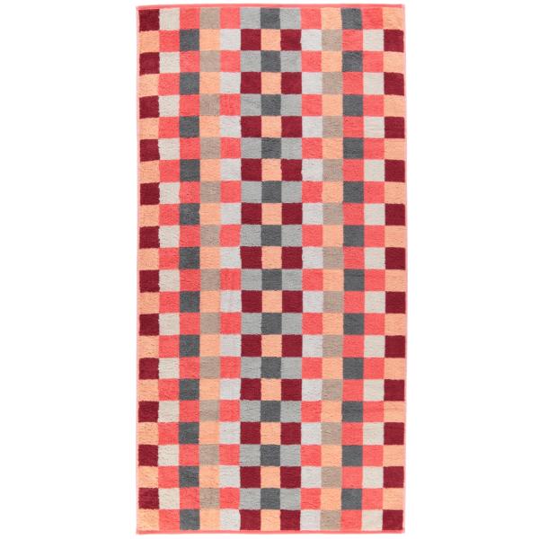 Cawö - Unique Karo 942 - Farbe: koralle - 22 Duschtuch 70x140 cm