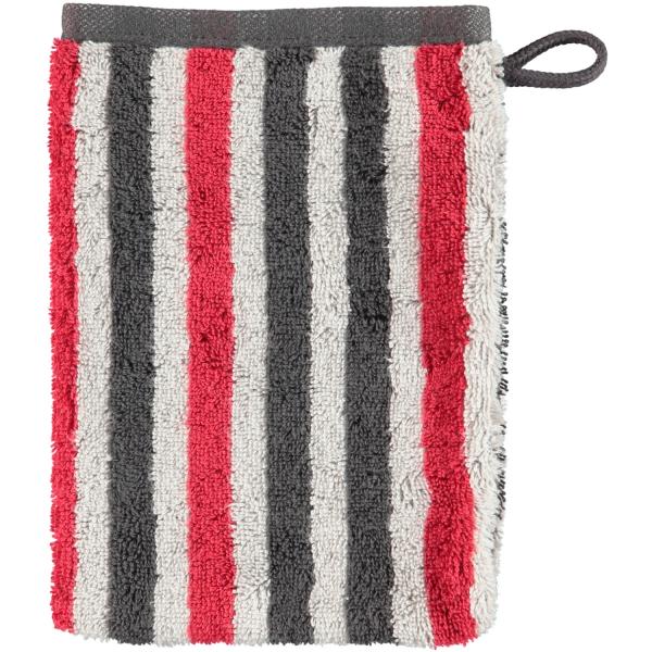 Cawö Tape Streifen 103 - Farbe: anthrazit-rot - 27 Waschhandschuh 16x22 cm