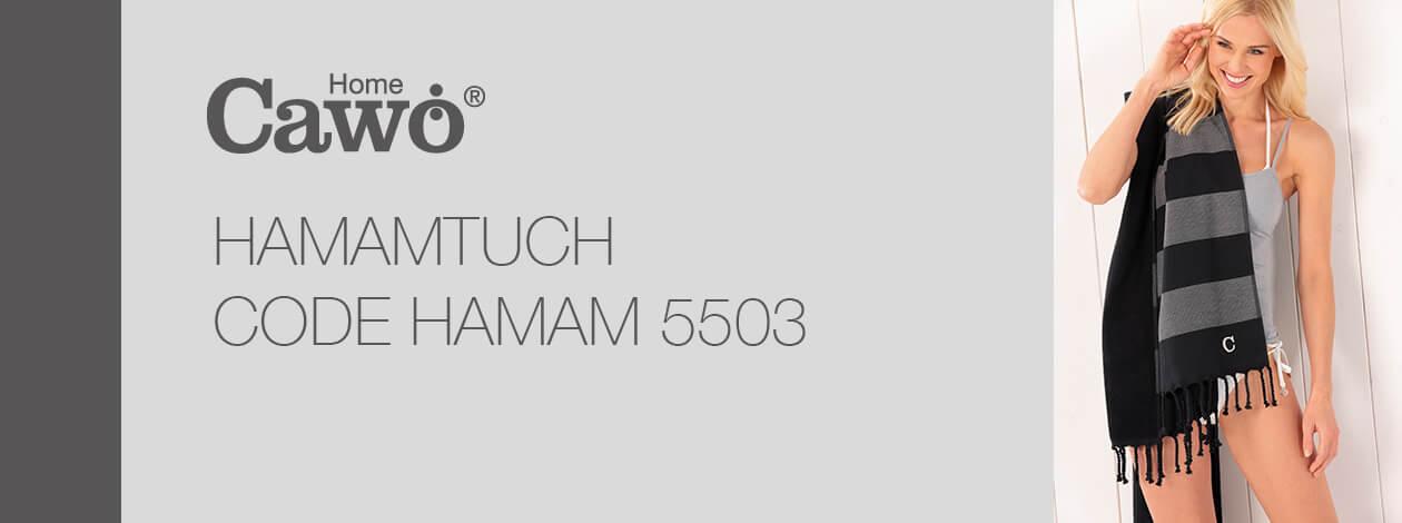 Cawö - Badetuch Code Hamam Blockstreifen 5503 - 90x180 cm - Farbe: saphir - 14 Detailbild 2