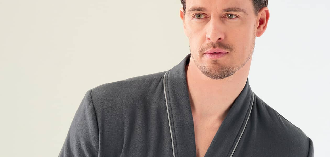 Cawö Herren Bademantel Kimono 2605 - Farbe: anthrazit - 753 L Detailbild 1