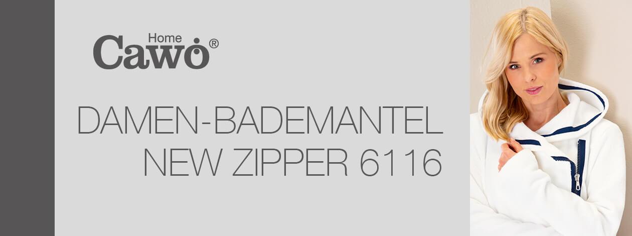 Cawö Damen Bademantel New Zipper RV 6116 - Farbe: weiß-navy - 600 Detailbild 2