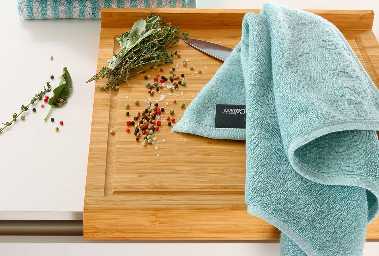 Cawö Solid 500 - Küchenhandtuch 50x50 cm - Farbe: seegrün - 455 Detailbild 1