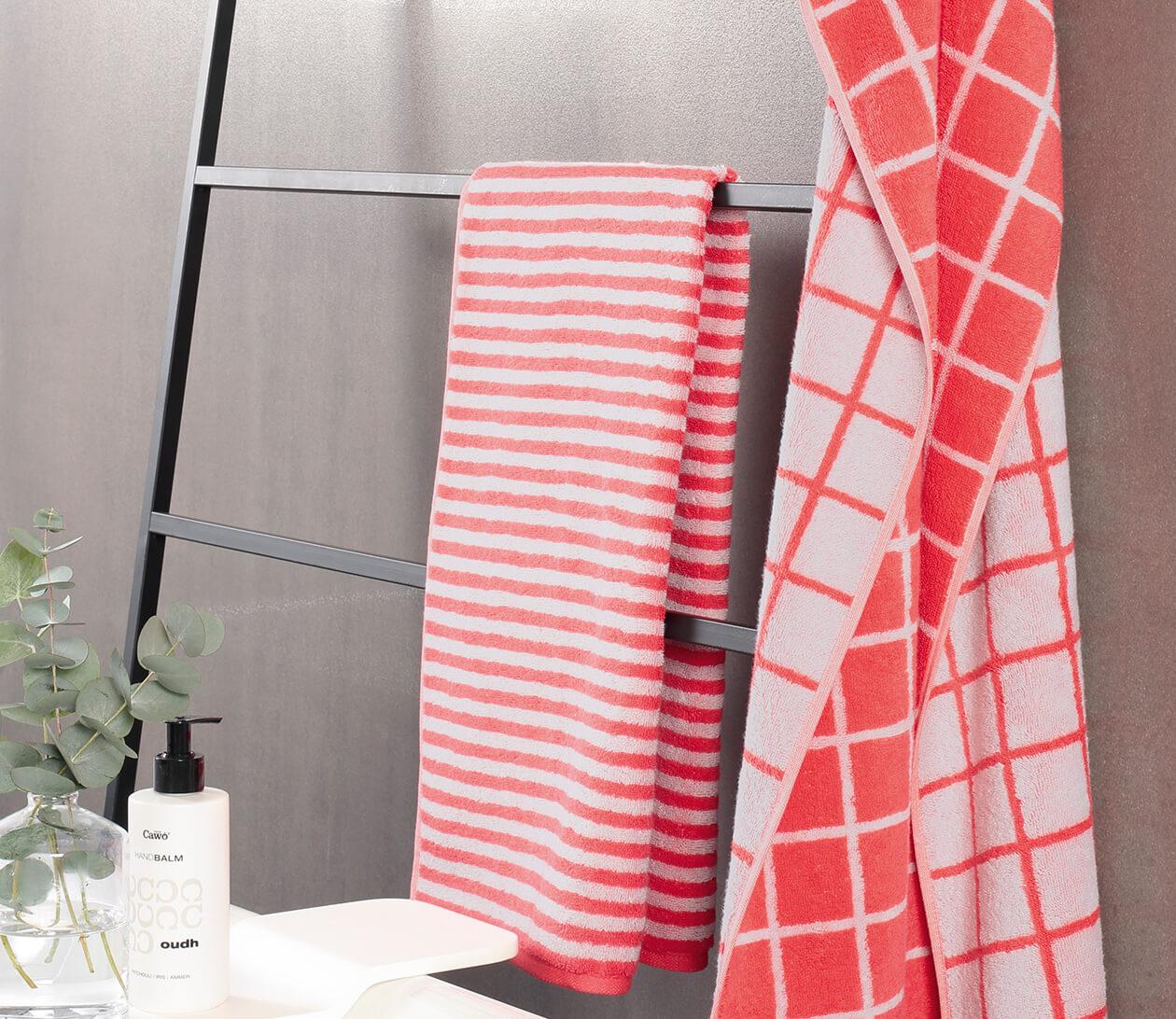Cawö Campus Karo 959 - Farbe: watermelon - 20 Duschtuch 70x140 cm Detailbild 1