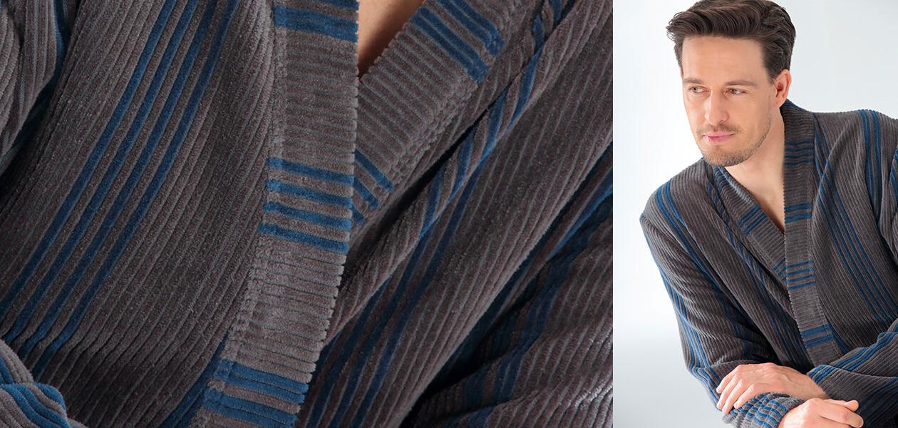 Cawö Herren Bademantel Kimono 2508 - Farbe: blau - 13 XL Detailbild 2
