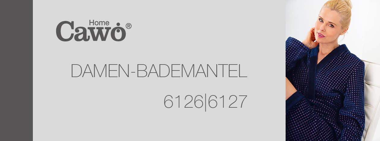 Cawö Damen Bademantel Kapuze 6127 - Farbe: blau-beere - 18 XL Detailbild 2