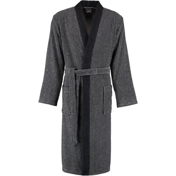Cawö Herren Bademantel Kimono 3831 - Farbe: schwarz-graphit - 97 L