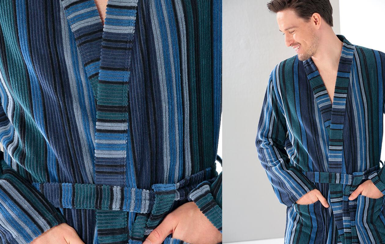 Cawö Herren Bademantel Kimono 2509 - Farbe: aqua - 14 Detailbild 1
