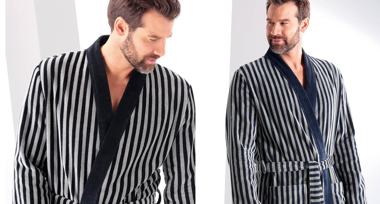 Cawö Herren Bademantel Kimono 3833 - Farbe: schwarz-graphit - 97 XL Detailbild 3