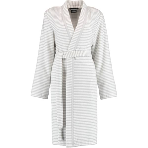 Cawö - Damen Bademantel Kurz Kimono 1214 - Farbe: weiß-silber - 76 M