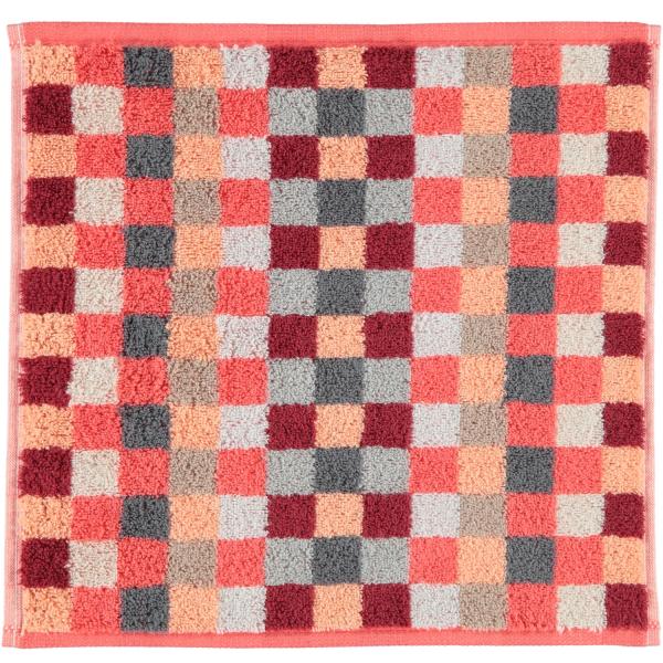 Cawö - Unique Karo 942 - Farbe: koralle - 22 Seiflappen 30x30 cm