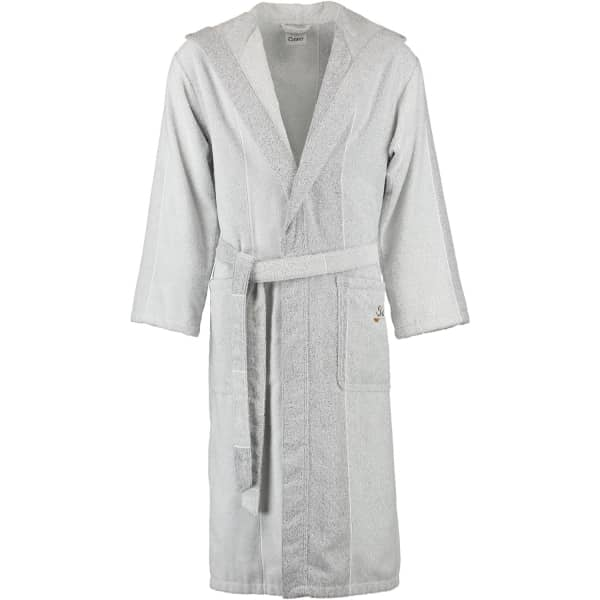 Cawö - Sauna - Bademantel Kapuze 5006 - Farbe: silbergrau/weiß - 76 XL