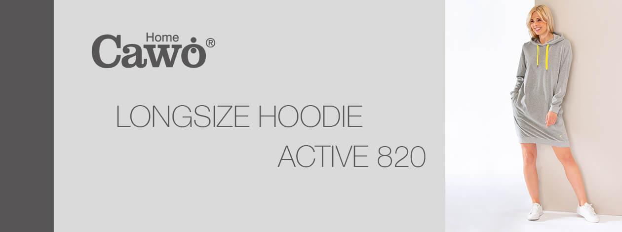 Cawö Home Active Longsize Hoodie 820 - Farbe: grau-melange/gelb - 75 L Detailbild 2