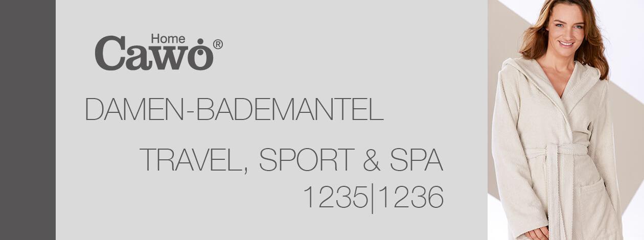 Cawö Damen Bademantel Kapuze Travel, Sport, Spa 1236 - Farbe: weiß - 600 Detailbild 2