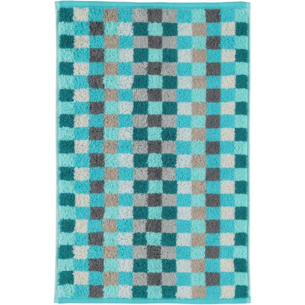 Cawö - Unique Karo 942 - Farbe: türkis - 44 Gästetuch 30x50 cm