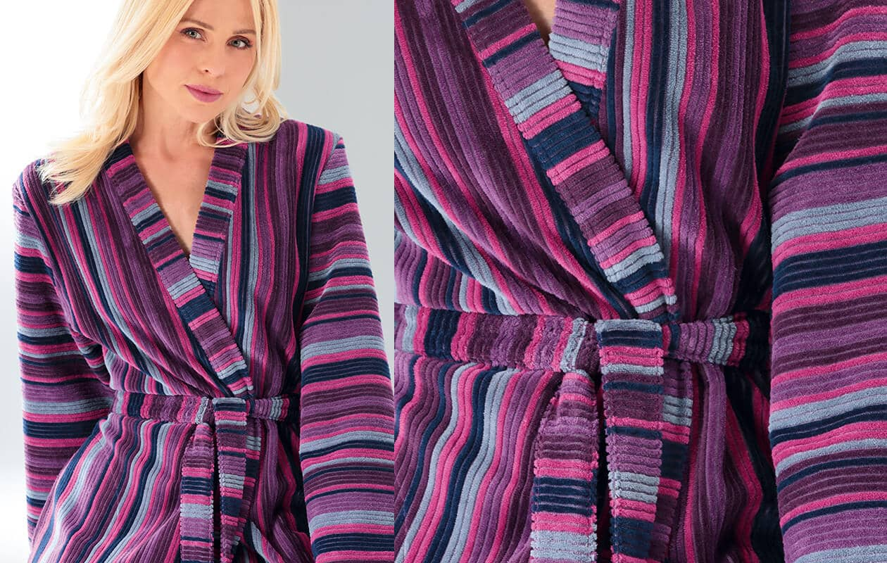 Cawö Damen Bademantel Kimono 2215 - Farbe: beere - 88 XL Detailbild 1
