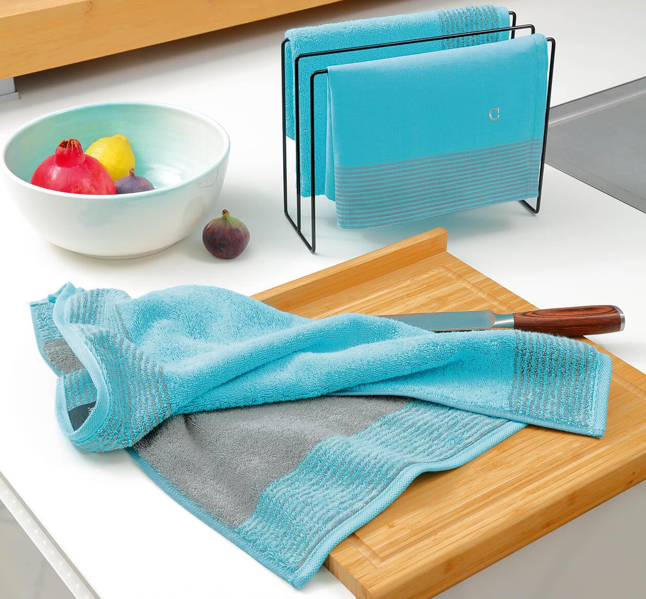 Cawö Two-Tone 590 - Küchenhandtuch 50x50 cm - Farbe: blau - 17 Detailbild 2