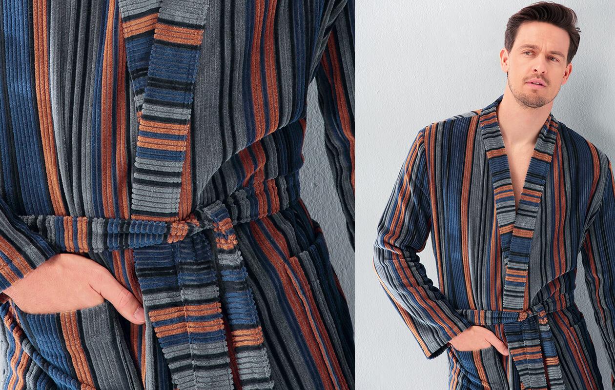 Cawö Herren Bademantel Kimono 2509 - Farbe: aqua - 14 Detailbild 3