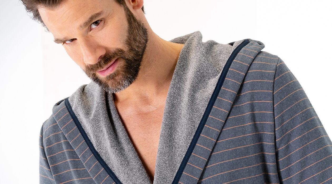 Cawö Herren Bademantel Kimono 6524 - Farbe: anthrazit-türkis - 94 S Detailbild 3