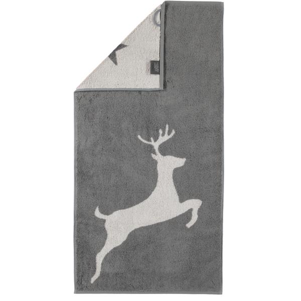 Cawö Christmas Edition Hirsch 929 - Farbe: schiefer - 77 Handtuch 50x100 cm