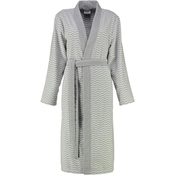 Cawö - Damen Bademantel Kimono 5488 - Farbe: silber-weiss - 76 L
