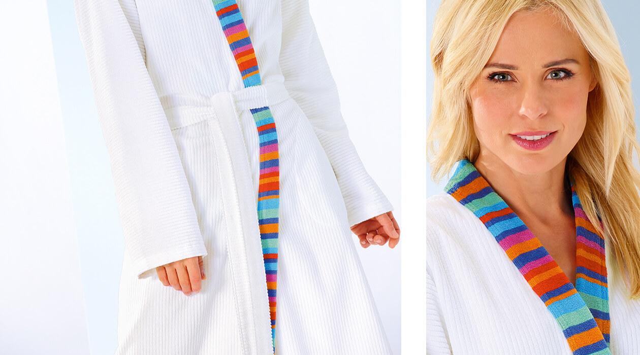 Cawö Damen Bademantel Kimono Art 1230 - Farbe: weiß-multicolor - 600 Detailbild 3