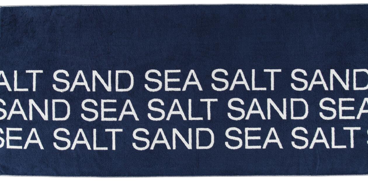 Cawö Saunatuch Sea Salt Sand Typo 442 - 80x180 cm - Farbe: navy-weiß - 16 Detailbild 1
