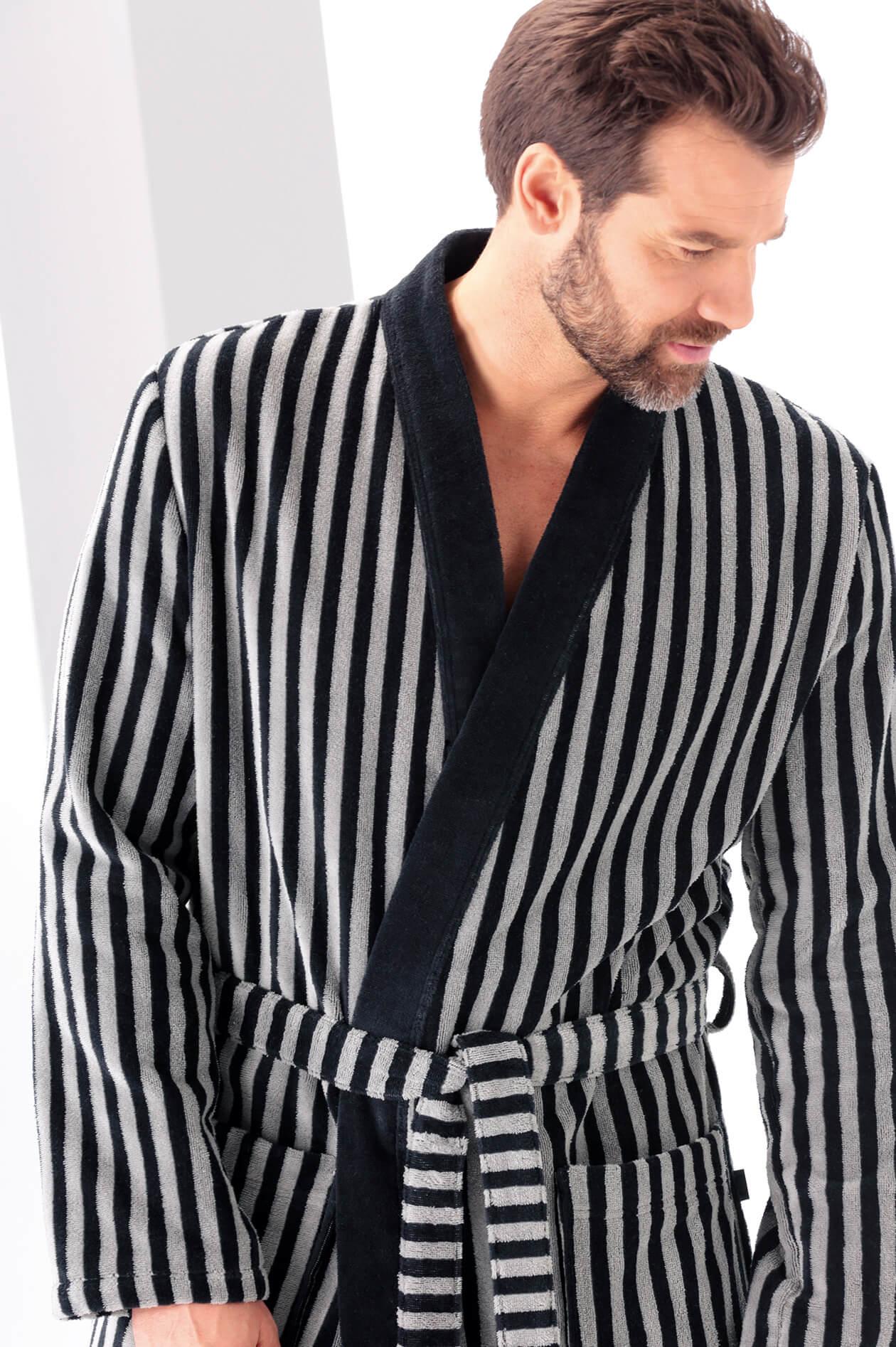 Cawö Herren Bademantel Kimono 3833 - Farbe: schwarz-graphit - 97 XL Detailbild 1