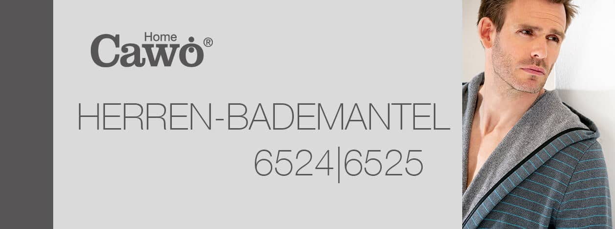 Cawö Herren Bademantel Kimono 6524 - Farbe: anthrazit-türkis - 94 S Detailbild 2