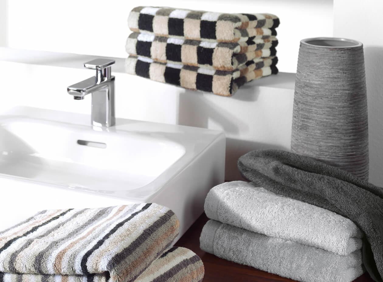 Cawö - Life Style Karo 7047 - Farbe: 37 - kiesel Handtuch 50x100 cm Detailbild 1
