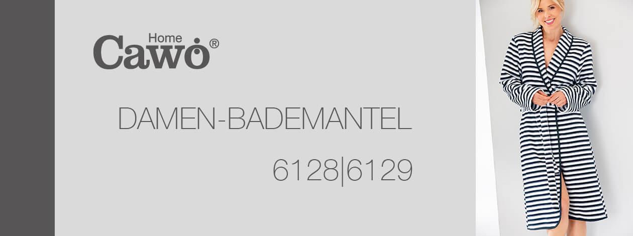 Cawö Damen Bademantel Schalkragen 6128 - Farbe: schwarz-weiß - 96 S Detailbild 2