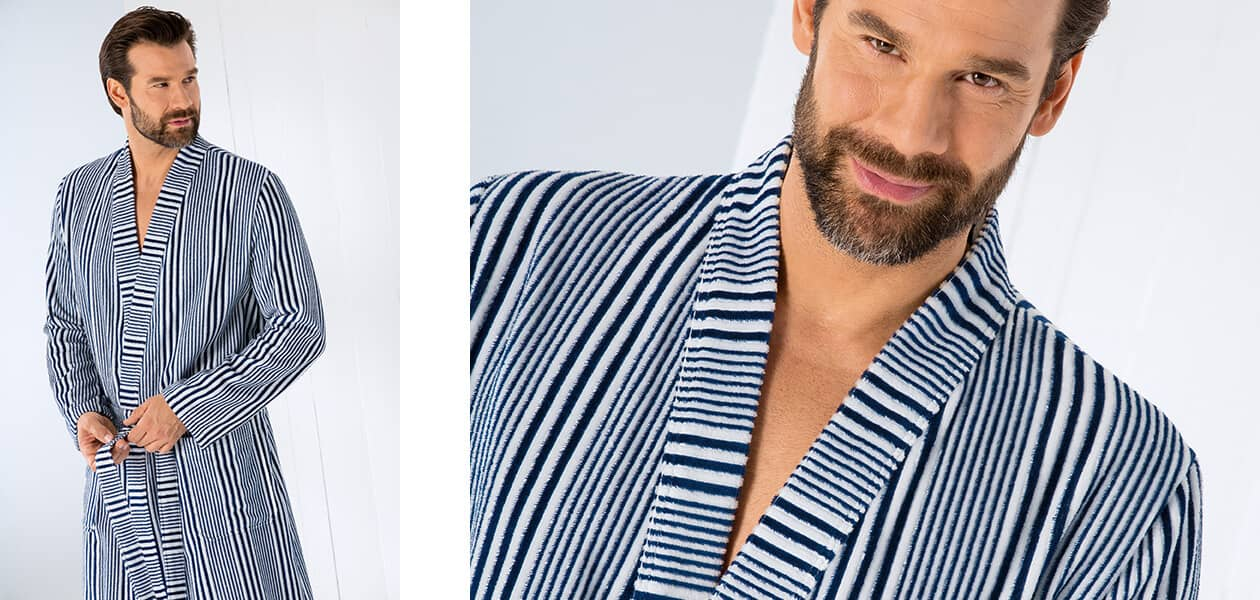 Cawö - Herren Bademantel Kimono 5805 - Farbe: marine-weiß - 16 Detailbild 2