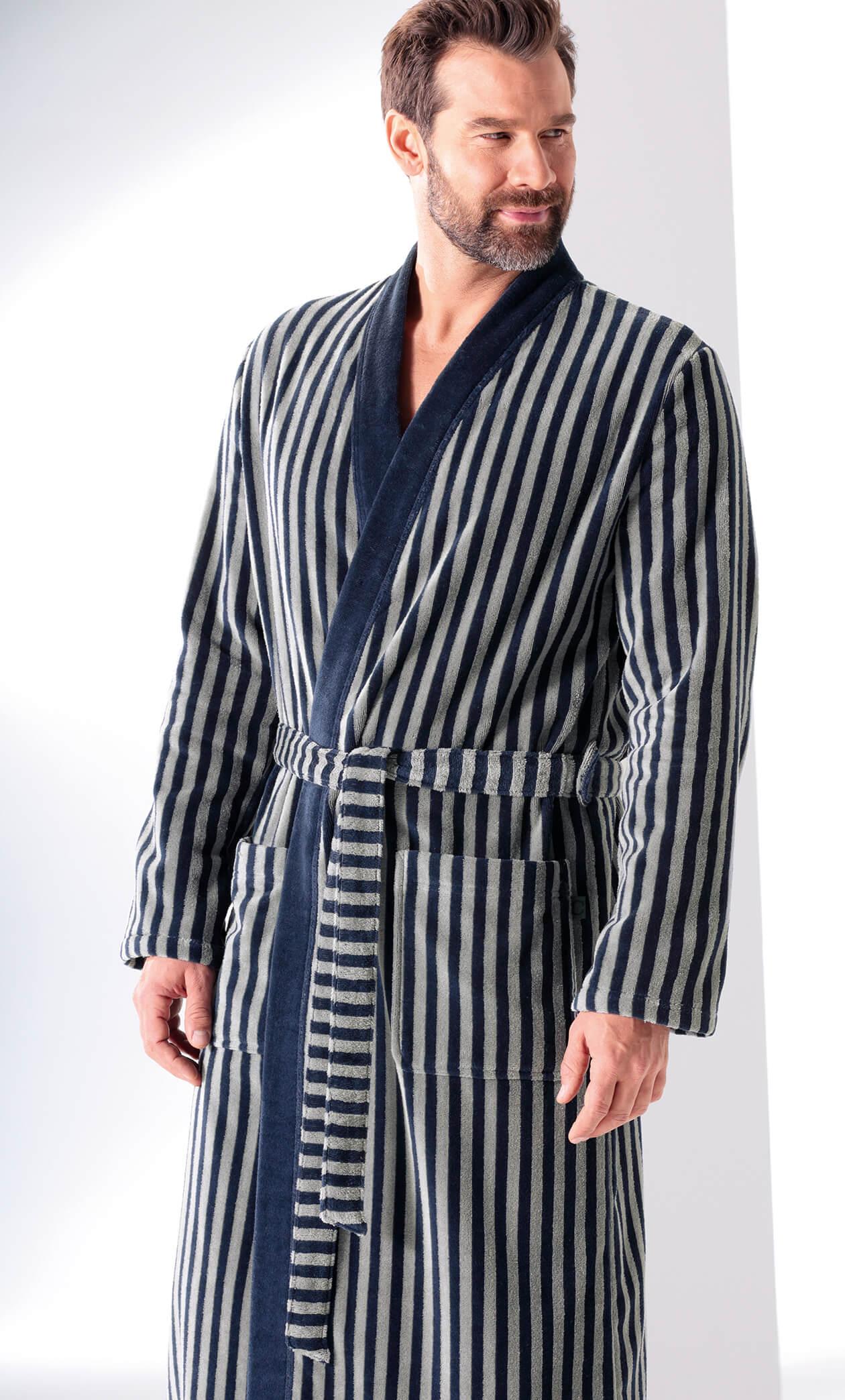 Cawö Herren Bademantel Kimono 3833 - Farbe: blau-graphit - 17 L Detailbild 2