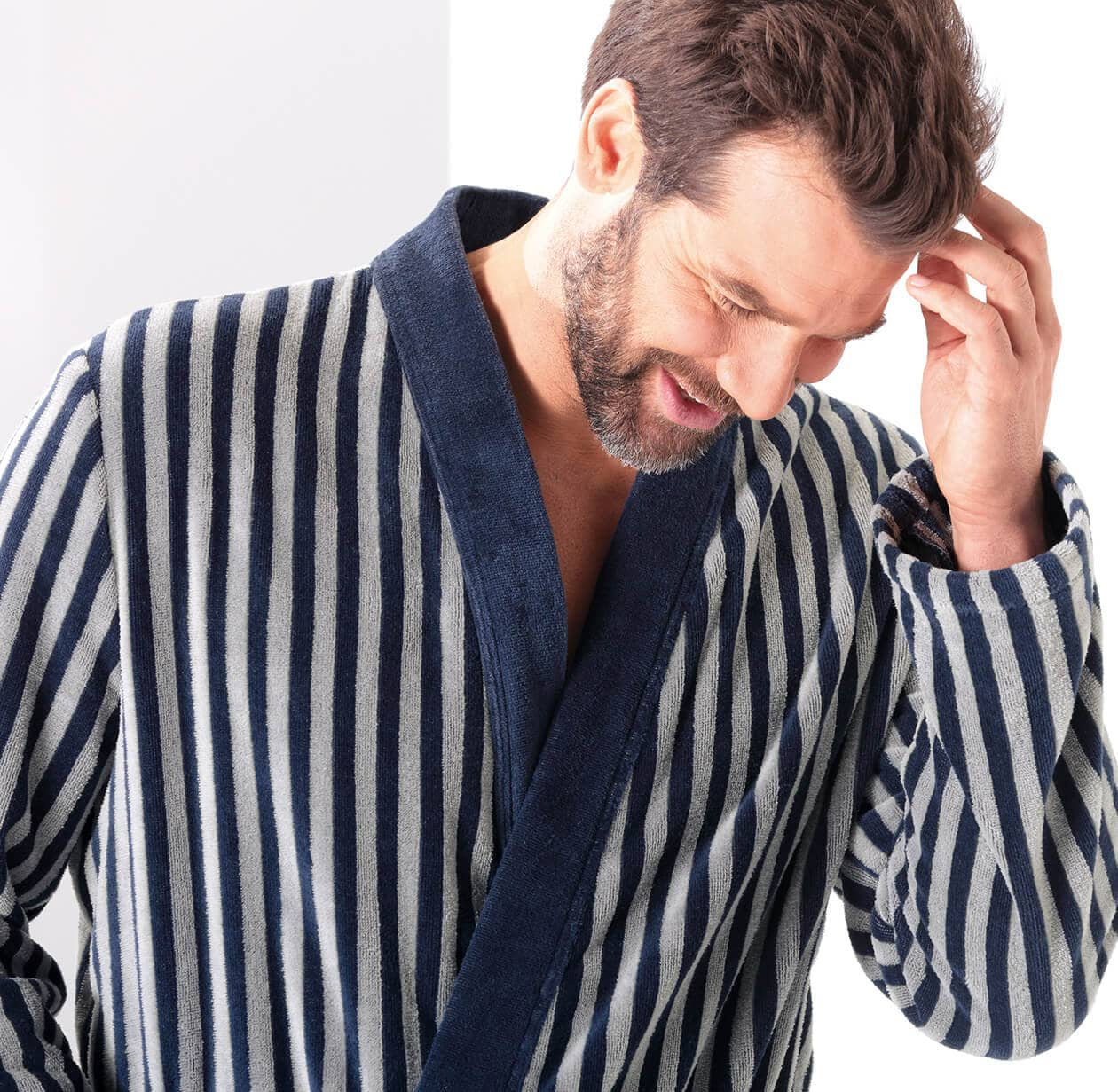 Cawö Herren Bademantel Kimono 3833 - Farbe: blau-graphit - 17 L Detailbild 1