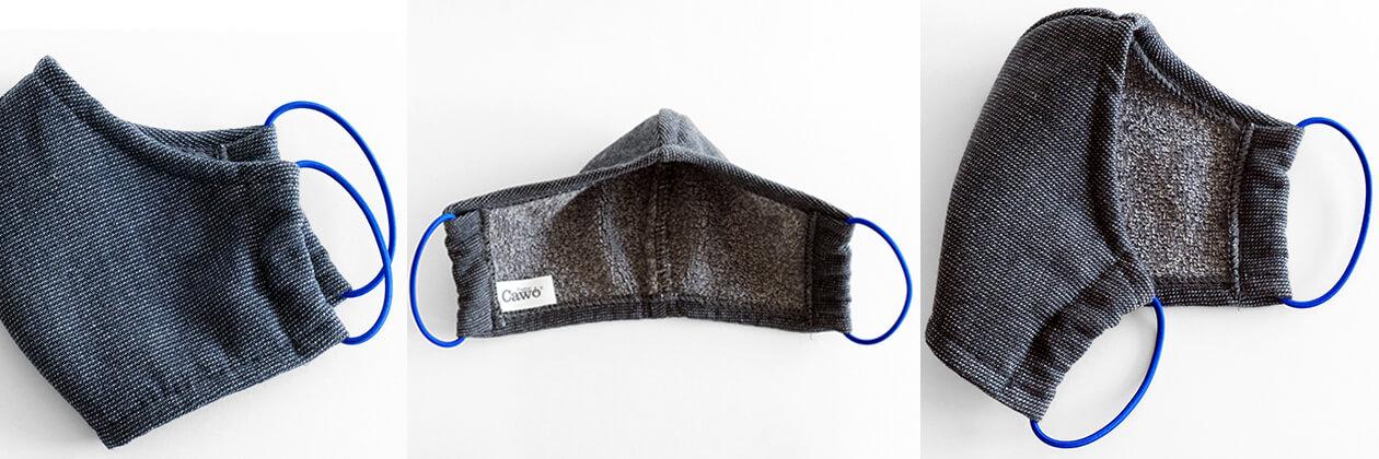 Cawö Mund- und Nasenmaske 9903 - 2er Pack - Farbe: dunkelgrau - 99 (Gummikordel farblich sortiert) Detailbild 2