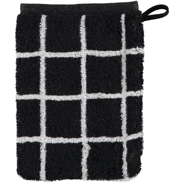 Cawö Zoom Karo 123 - Farbe: schwarz - 97 Waschhandschuh 16x22 cm