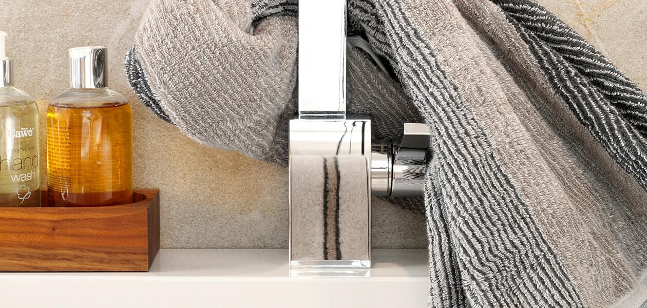 Cawö Polo Streifen 365 - Farbe: platin - 73 Gästetuch 30x50 cm Detailbild 3