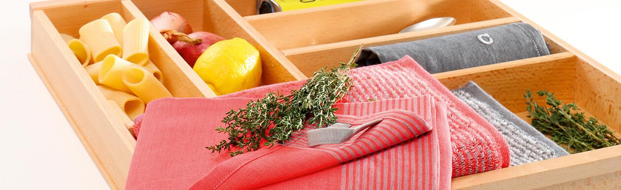 Cawö Two-Tone 590 - Küchenhandtuch 50x50 cm - Farbe: rot - 27 Detailbild 1
