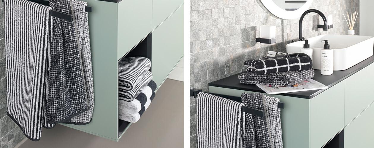 Cawö Zoom Streifen 121 - Farbe: schwarz - 97 Waschhandschuh 16x22 cm Detailbild 1