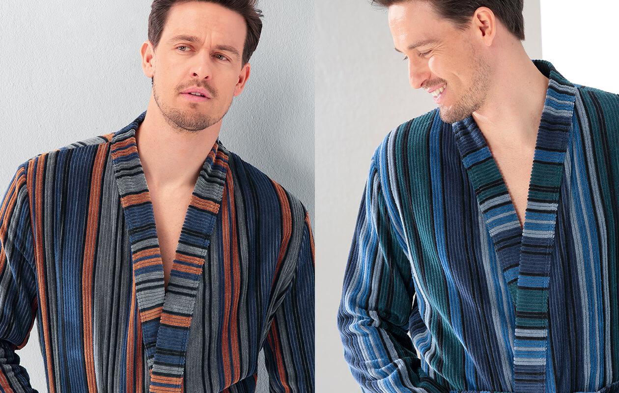Cawö Herren Bademantel Kimono 2509 - Farbe: aqua - 14 Detailbild 2
