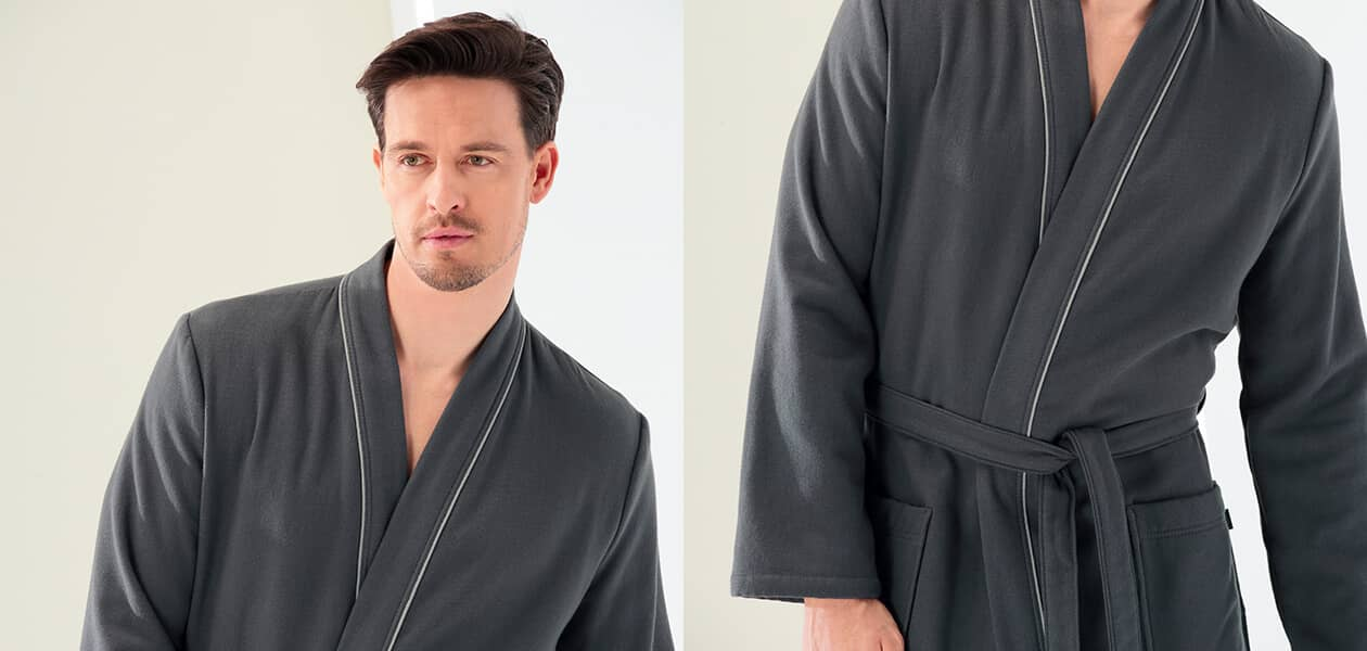 Cawö Herren Bademantel Kimono 2605 - Farbe: anthrazit - 753 L Detailbild 2