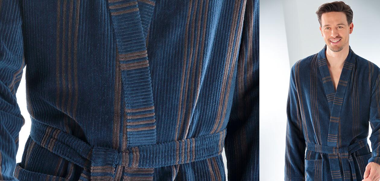 Cawö Herren Bademantel Kimono 2508 - Farbe: blau - 13 XL Detailbild 1