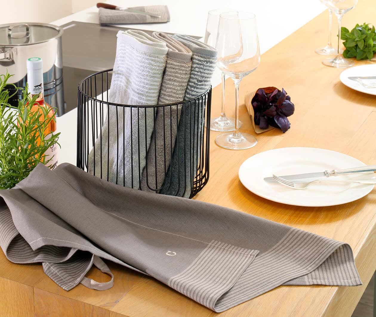 Cawö Two-Tone 590 - Küchenhandtuch 50x50 cm - Farbe: graphit - 70 Detailbild 1