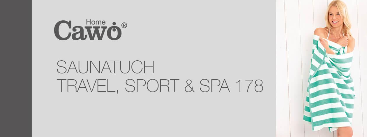 Cawö Saunatuch Travel, Sport & Spa Streifen 178 - 80x200 cm - Farbe: schwarz - 96 Detailbild 2