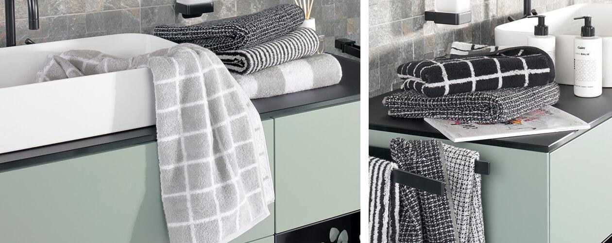 Cawö Zoom Streifen 121 - Farbe: schwarz - 97 Waschhandschuh 16x22 cm Detailbild 3