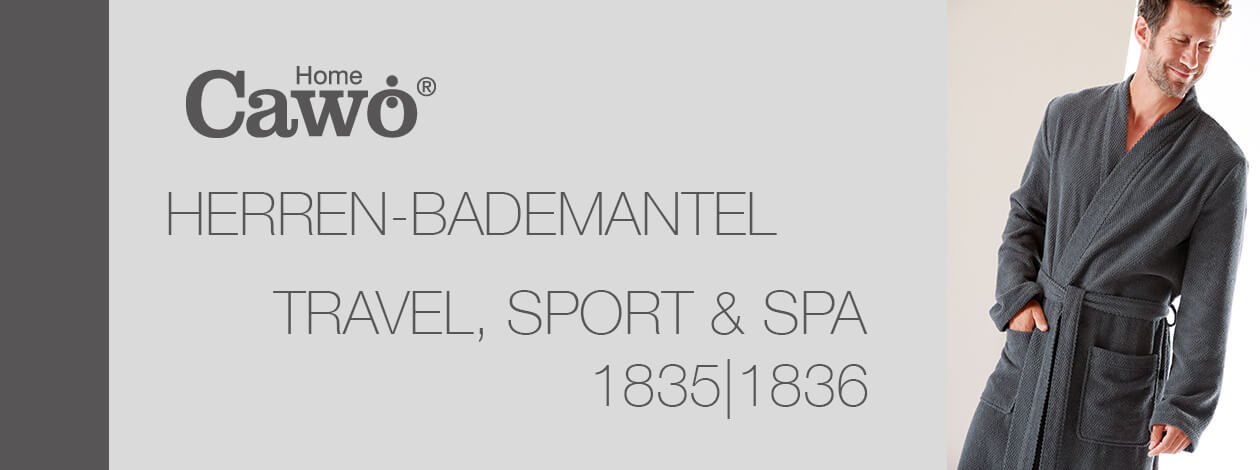 Cawö Herren Bademantel Kimono Travel, Sport, Spa 1835 - Farbe: travertin - 366 Detailbild 2