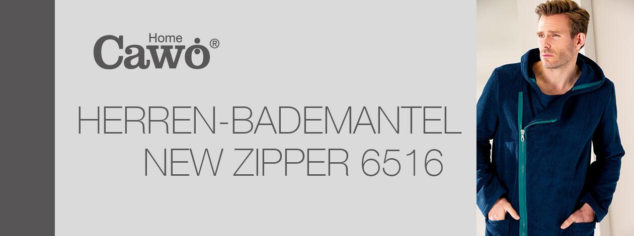 Cawö Herren Bademantel New Zipper Kapuze RV 6516 - Farbe: weiß-stein - 600 Detailbild 2