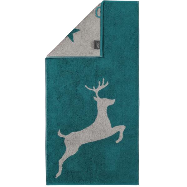 Cawö Christmas Edition Hirsch 929 - Farbe: smaragd - 44 Handtuch 50x100 cm