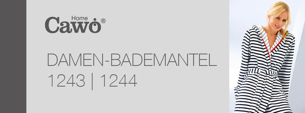 Cawö - Damen Bademantel kurz Kapuze RV 1244 - Farbe: schwarz-weiß - 96 M Detailbild 2