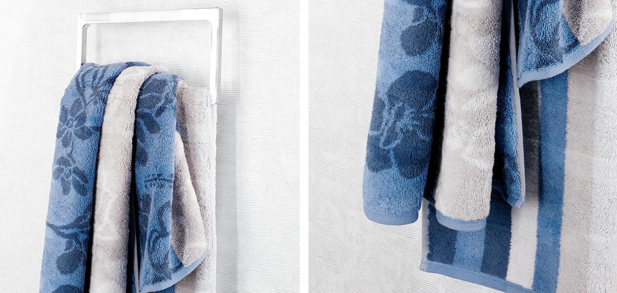 Cawö - Noblesse Interior Streifen 1081 - Farbe: nachtblau - 11 Seiflappen 30x30 cm Detailbild 1